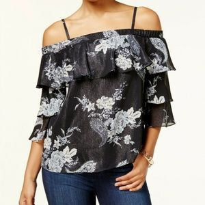Metallic Ruffled Pullover Top Blouse